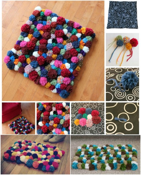 Cuddly Pom Poms - 30 Magnificent DIY Rugs to Brighten up Your Home