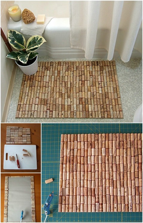 Corky Bath Mat - 30 Magnificent DIY Rugs to Brighten up Your Home