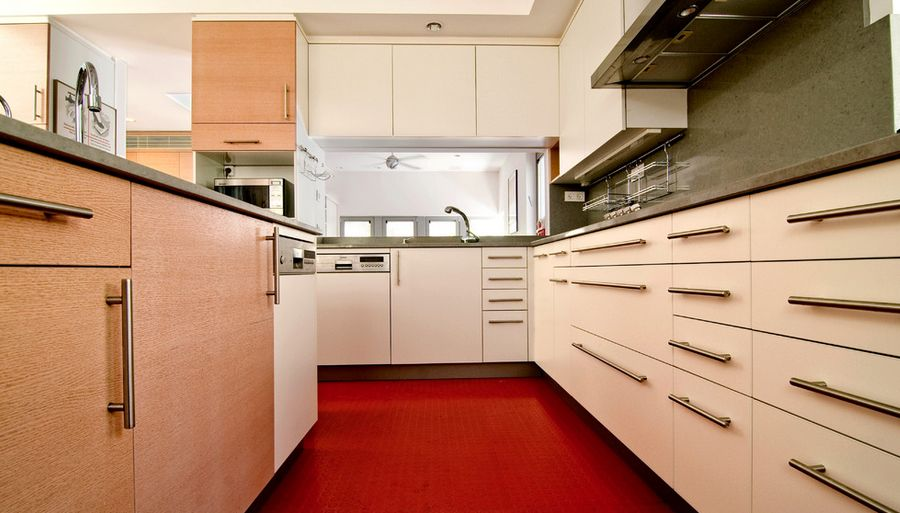 Red rubber kitchen floor