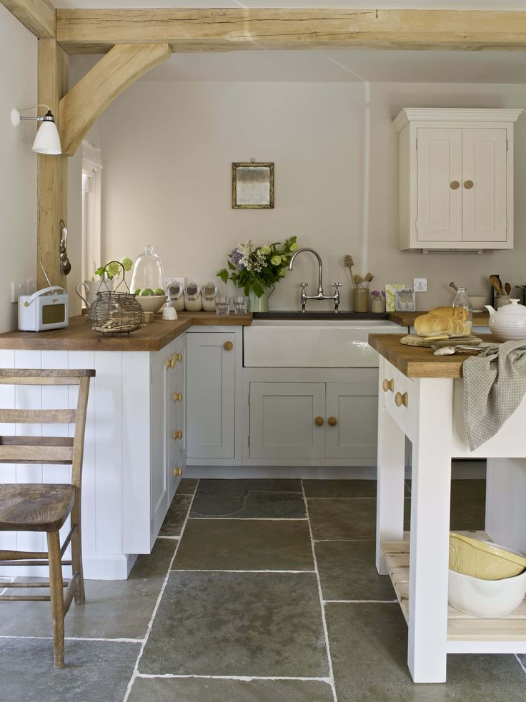 Stone kitchen floor edging