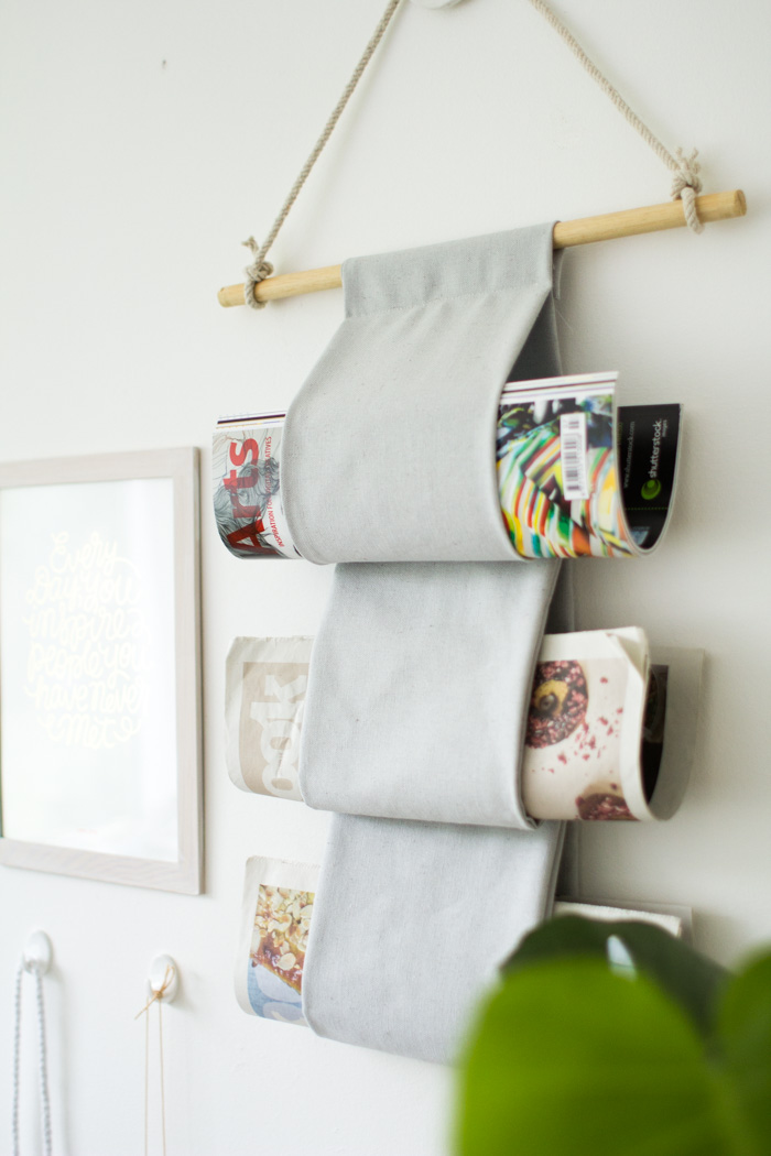 Canvas magazine hanger for bathroom