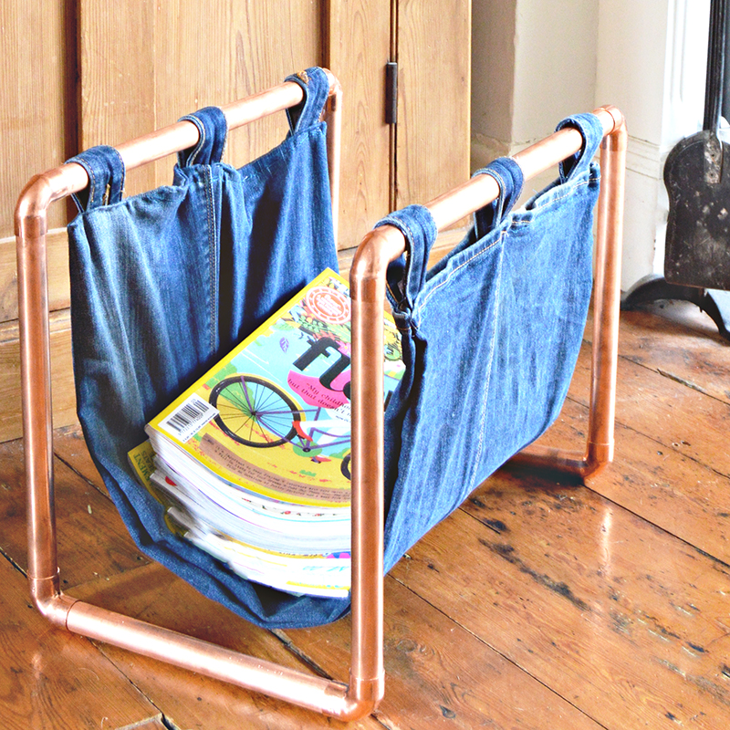 Copper and denim magazine rack