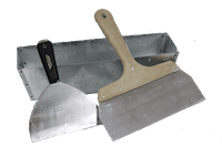photo of drywall joint knives and a mud pan